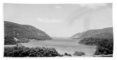 Trophy Point North Fro West Point In Black And White Beach Towel