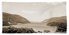 Trophy Point North Fro West Point In Sepia Tone Beach Towel