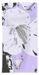 Tropical Floral Violet Black Beach Towel
