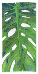 Tropical Leaf With Blue II Beach Towel