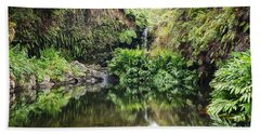 Tropical Reflections Beach Towel by Denise Bird