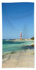 Tropical Seascape With Lighthouse Beach Towel
