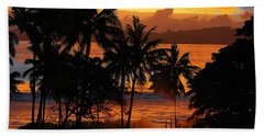 Tropical Sunset In Blues Beach Towel