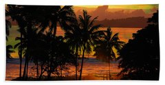 Tropical Sunset In Greens Beach Towel