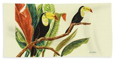 Tropical Toucans II Beach Towel by Linda Baliko