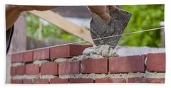Trowel Spreading Cement On Bricks Beach Towel