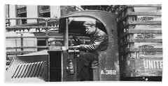 Truck Driver In His Cab Beach Towel by Underwood Archives
