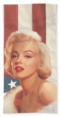 True Blue Marilyn In Flag Beach Sheet by Chris Consani