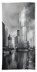 Beach Towel featuring the photograph Trump Tower In Chicago by Steven Sparks