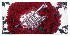 Trumpet On Red Berry Wreath Beach Towel