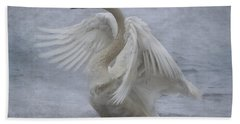 Trumpeter Swan - Misty Display Beach Towel by Patti Deters