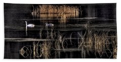 Trumpeter Swans A Swimming Beach Towel