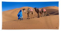 Tuareg Man Leading Camel Train Beach Towel by Panoramic Images