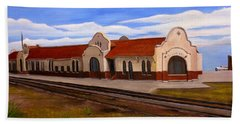 Tucumcari Train Depot Beach Towel