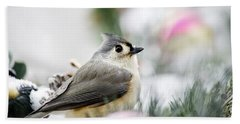 Tufted Titmouse Portrait Beach Sheet by Christina Rollo