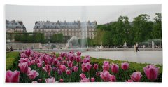 Tuileries Garden In Bloom Beach Sheet