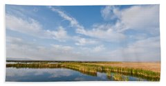 Beach Towel featuring the photograph Tule Lake Marshland by Jeff Goulden
