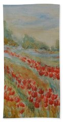 Beach Towel featuring the painting Tulip Field by Jane  See