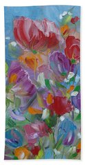 Beach Towel featuring the painting Tulip Symphony by Judith Rhue