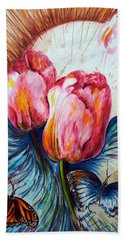 Tulips And Butterflies Beach Sheet