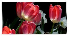 Beach Towel featuring the photograph Tulips And Daffodils by Lucinda Walter