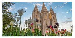 Tulips At The Temple Beach Towel