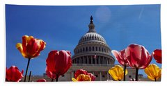 Tulips With A Government Building Beach Sheet by Panoramic Images