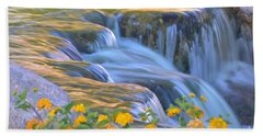 Tumbling Waters Beach Towel by Deb Halloran
