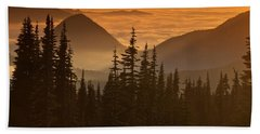 Beach Towel featuring the photograph Tumtum Peak At Sunset by Jeff Goulden