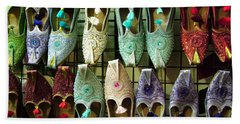 Beach Towel featuring the photograph Tunisian Shoes by Donna Corless