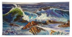 Beach Towel featuring the painting Turbulent Waters Hawaii by Jenny Lee