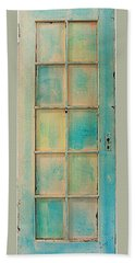 Beach Towel featuring the painting Turquoise And Pale Yellow Panel Door by Asha Carolyn Young