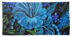 Turquoise Hibiscus Beach Towel by Jenny Lee