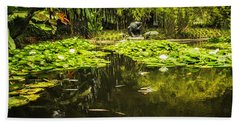 Beach Towel featuring the photograph Turtle In A Lily Pond by Belinda Greb