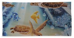 Beach Towel featuring the painting Turtles At Sea #2 by Dianna Lewis