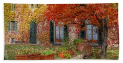 Tuscan Villa In Autumn Beach Towel