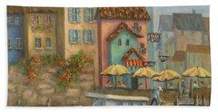 Tuscan Village Boat Paintings Beach Sheet