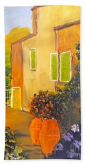 Beach Towel featuring the painting Tuscany Courtyard by Pamela  Meredith