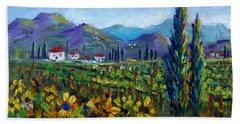 Beach Towel featuring the painting Tuscany Sunflowers Miniature by Lou Ann Bagnall