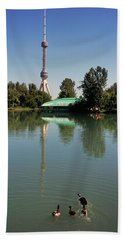 Tv Tower At The Lakeside, Tashkent Tv Beach Towel