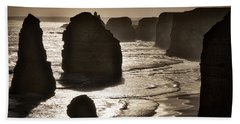 Twelve Apostles #3 - Black And White Beach Towel