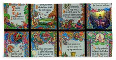 Twenty Third Psalm Collage 2 Beach Sheet by Tikvah's Hope