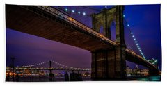 Twilight At The Brooklyn Bridge Beach Towel