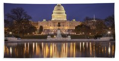 Beach Towel featuring the photograph Twilight At Us Capitol by Brian Jannsen