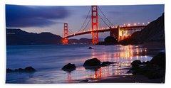 Twilight - Beautiful Sunset View Of The Golden Gate Bridge From Marshalls Beach. Beach Towel by Jamie Pham