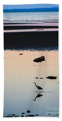 Twilight Heron Beach Towel