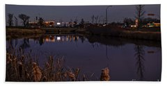 Twilight Over The River In Weyburn. Beach Towel