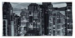Beach Sheet featuring the photograph Twilight On Cityscape Of Vancouver Overlooking English Bay - Greeting Card by Amyn Nasser