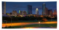 Beach Towel featuring the photograph Twilight Skyline by Dave Files
