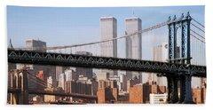 Twin Bridges Twin Towers - New York Beach Towel